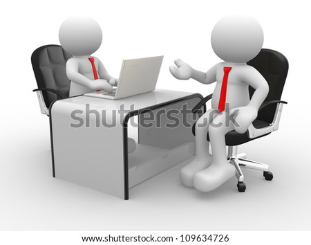 3d people - men , person at a office. Business partners.