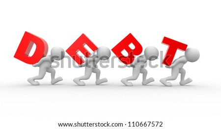 """3d people - men, person carrying word """"debt"""" on his back. Debt concept. - stock photo"""