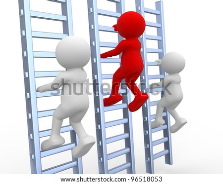 3d people - men, person climbing a ladder - stock photo