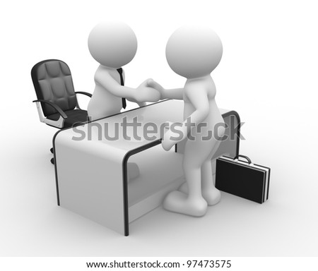 3d people - men, person in an office. Businessmen  who shake hands. Concept of partnership. - stock photo