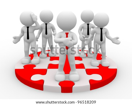 3d people - men, person in group. Successful business team and their leader - stock photo
