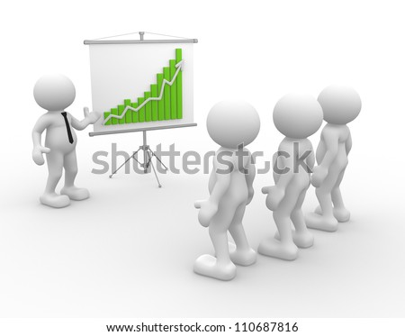 3d people - men, person presenting at a financial chart. Leadership and team. - stock photo