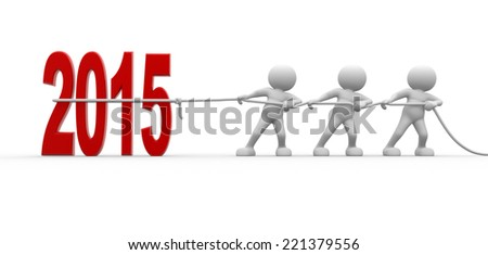 3d people - men, person pull rope. New Year metaphor. 2015 - stock photo