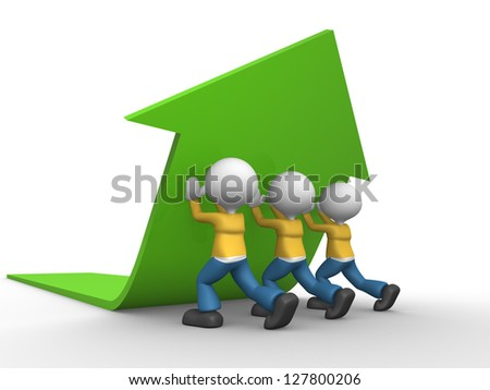 3d people - men, person pushing green arrow. - stock photo