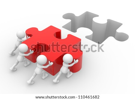 3d people - men, person pushing last piece of puzzle.