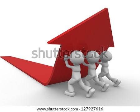 3d people - men, person pushing red arrow. Concept of solution. - stock photo