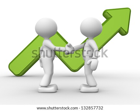 3d people - men, person shake hands with a growing graph. Deal