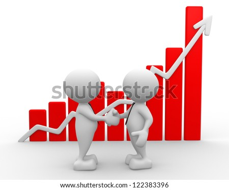 3d people - men, person shake hands with growing graph - stock photo