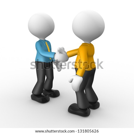 3d people - men, person shaking hands. Businessmen - stock photo