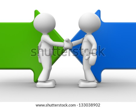 3d people - men, person shaking hands on arrows. The concept of business partners - stock photo