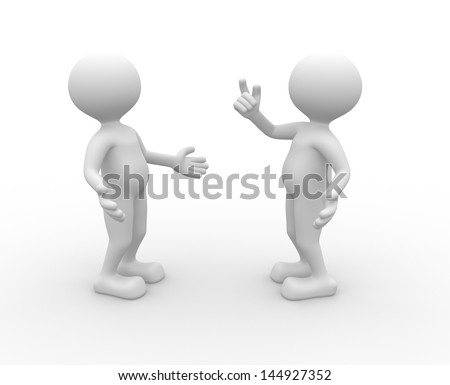 3d people - men, person talking - stock photo