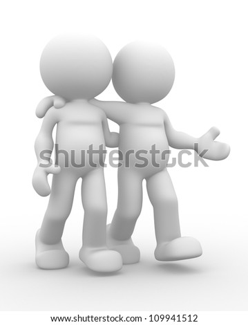 3d people - men, person. The concept of friendship - stock photo