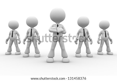 3d people - men, person together. Businessmen. Leadership and team