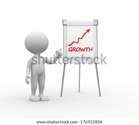 3d people - men, person with a flipchart and word growth - stock photo