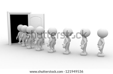 3d people - men, person with a open door. - stock photo