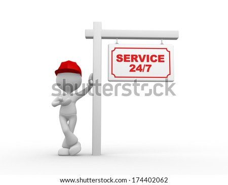 3d people - men, person with a placard and text Service 24/7