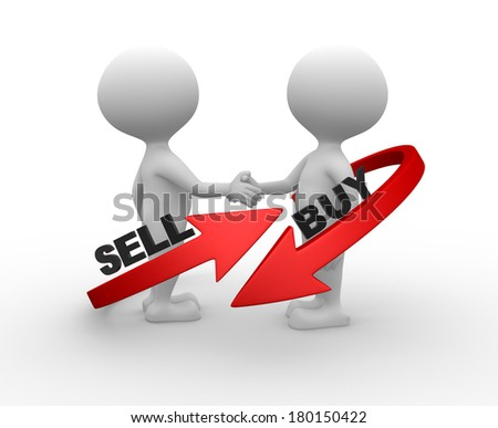"3d people - men, person with arrowa. Words ""buy"" and "" sell'"
