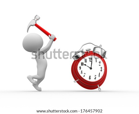 3d people - men, person with hammer and a alarm clock.  - stock photo