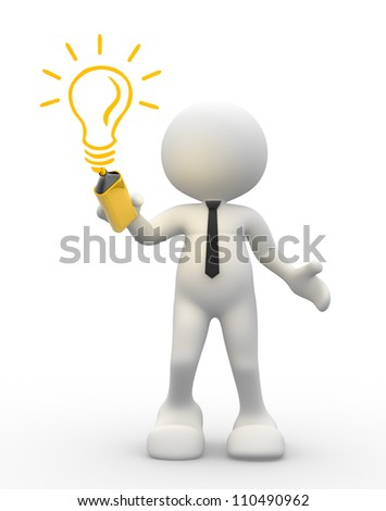 3d people - men, person with light-bulb