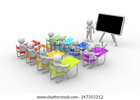3d people - men , person with pointer in hand close to blackboard. Concept of education and learning. - stock photo