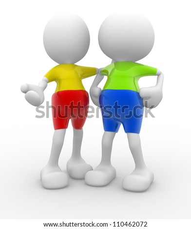 3d people - men, persons talking. Concept of dialogue and congratulation - stock photo