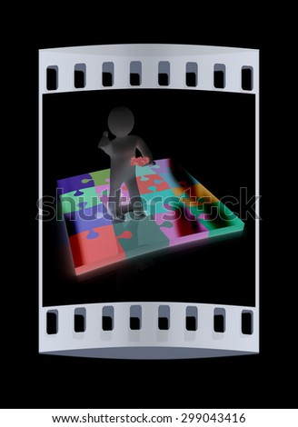 3d people - missing piece - jigsaw. 3d render. The concept of niche on a black background. The film strip - stock photo