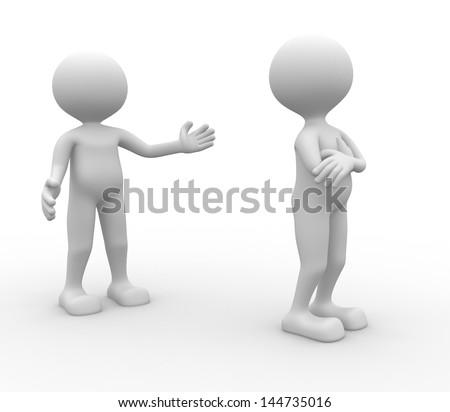3d people misunderstanding - rd render - stock photo