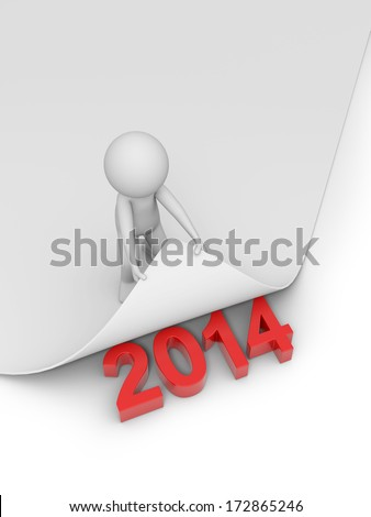 3d people, new year coming - stock photo