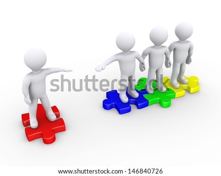 3d people offer help to another in order to join the puzzle pieces - stock photo