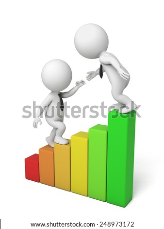 3d people on a chart, teamwork, profit growth, 3d image. Isolated white background