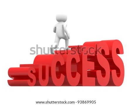 3d people on success stair. 3d render illustration - stock photo