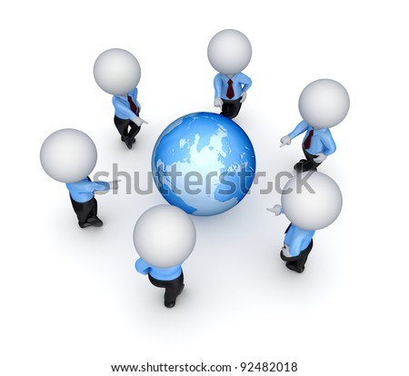 3d people pointed on a globe.Isolated on white background.
