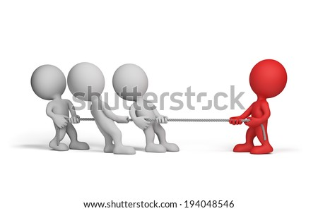 3d people pulling a rope in opposite directions. 3d image. White background. - stock photo