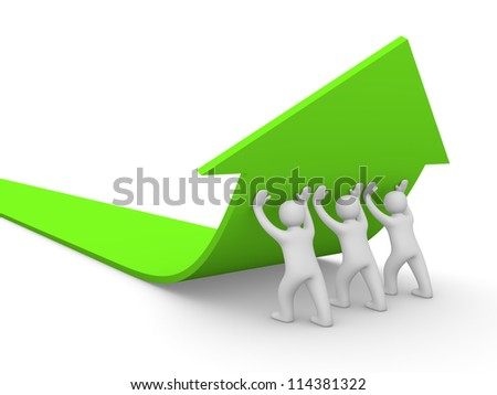 3d people pushing green arrow. 3d rendering. - stock photo