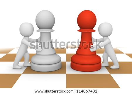 3d people pushing pawns - stock photo
