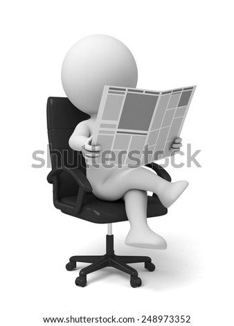 3d people reading the newspaper sitting in a chair. 3d image. Isolated white background