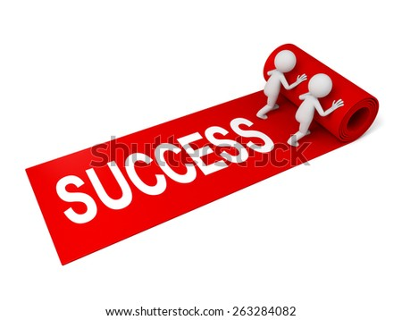 3d people rolling out the red carpet with word success - stock photo
