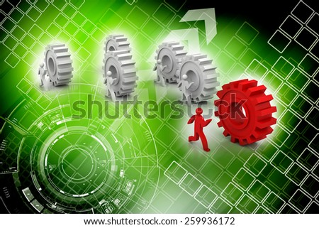 3d people running on cogwheels and one is the leader - stock photo