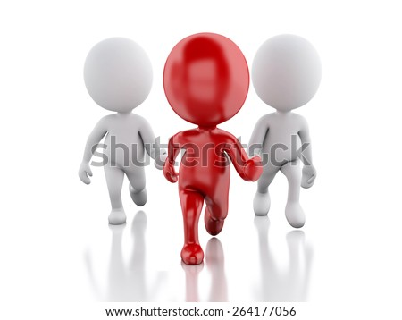 3d People. Running with a red leader. Leader concept. Isolated white background - stock photo
