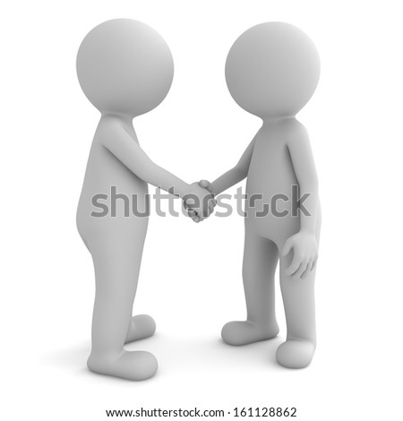 3d people shaking hands isolated on white background - stock photo
