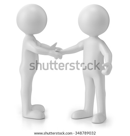 3d people shaking hands, isolated on white background