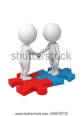 3d people shaking hands on puzzle pieces. The concept of business partners.