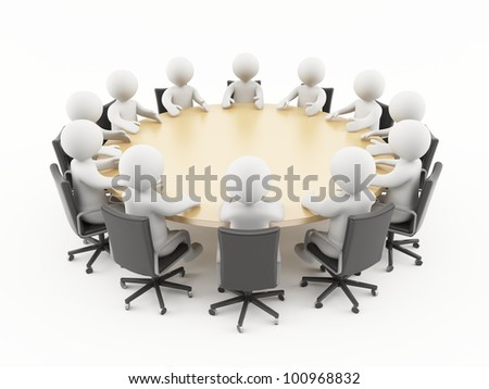 3D people sitting in a business meeting - stock photo