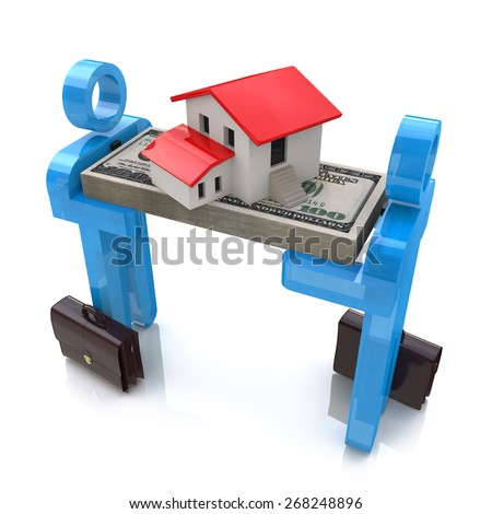 3d people, small house and dollar pack  - stock photo