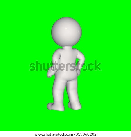 3D people - stand 1 - green screen