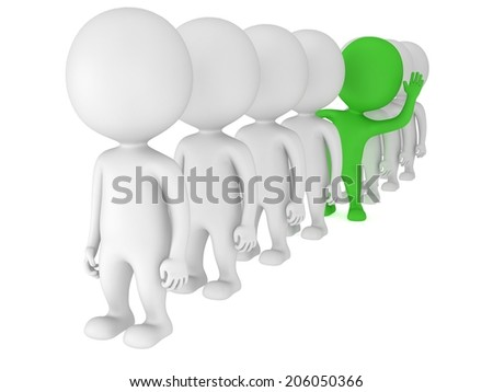 3d people stand in line but green one stands out on white back. Men, person in row. Leadership and team. Out of crowd. Raised one's hand for greeting
