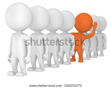 3d people stand in line but orange one stands out on white back. Men, person in row. Leadership and team. Out of crowd. Raised one's hand for greeting
