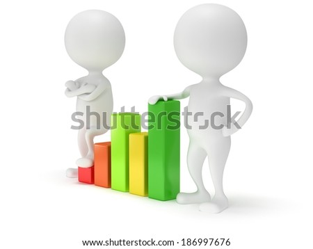 3d people stand near colored bar graph isolated on white. Business concept.