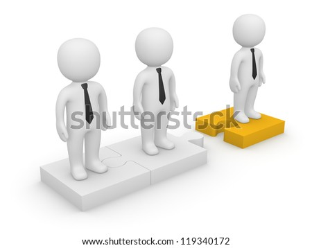 3d people standing on detached puzzle pieces. 3d rendering.