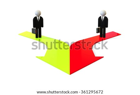 3D people standing on merging arrows / Merging Business - stock photo